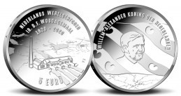 A five-euro coin commemorating the centennial of the Woudagemaal pumping station, and featuring Willem-Alexander