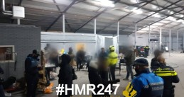 Police break up a crowded video shoot in a warehouse in Lijnden, 14 January 2020