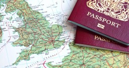 Passports and British map