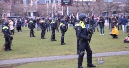 Riot police at an illegal demonstration on the Museumplein in Amsterdam, 24 January 2021