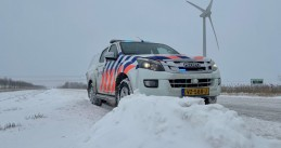 Police vehicle in the snow