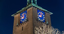 The Enschede City Hall clock strikes 9 o'clock on the evening of 23 January 2021, marking the start of the first curfew in the Netherlands since World War II