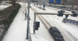 Snowy roads in Amsterdam, 7 February 2021
