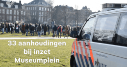 Police at an illegal anti-coronavirus measures demonstration on Museumplein in Amsterdam, 31 January 2021