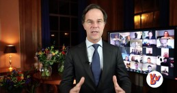Mark Rutte delivers an online address to VVD supporters after winning the 2021 parliamentary election. 17 March 2021
