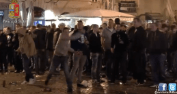 Feyenoord football fans riot in Rome (Screenshot YouTube/Polizia di Stato)