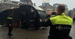 Paint-bombed police vehicle Dam Square March 25, 2015