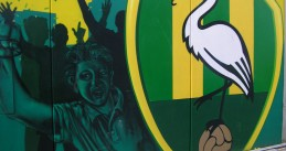 A mural on the side of the home stadium for ADO Den Haag