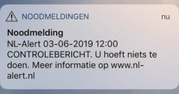 NL-Alert test message sent on 3 June 2019